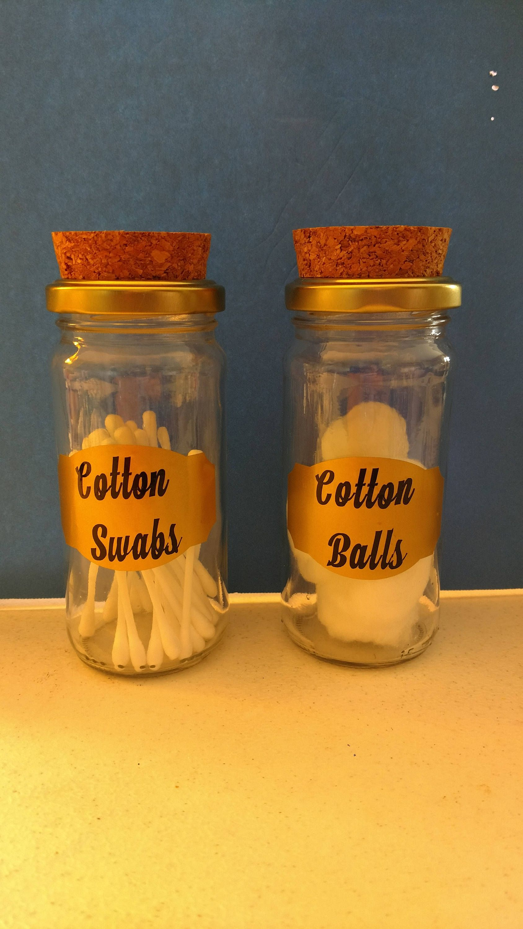 Bathroom Storage Jars   Cotton Balls   Cotton Swabs