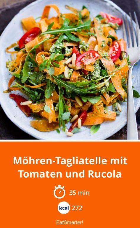 Möhren-Tagliatelle mit Tomaten und Rucola