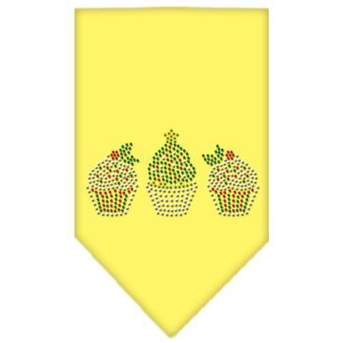 Christmas Cupcakes Rhinestone Bandana Yellow Large