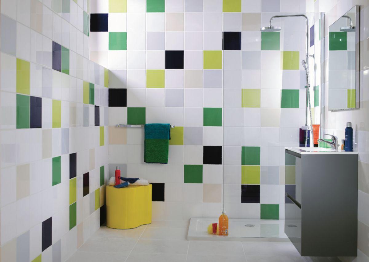 Carrelage Mural Interieur Faience Archicolor Blanc Brillant 19 8x19 8 Cm Idees Diy Pour Salle De Bains Parement Mural Carrelage Mural