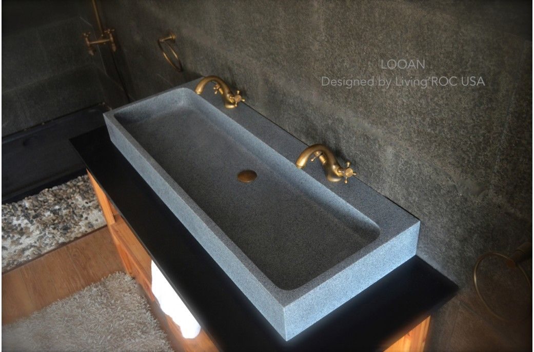 47 Quot Large Double Trough Gray Granite Stone Bathroom Sink
