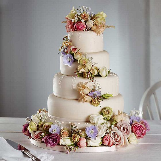 Five Tiered White Lace Iced Wedding Cake Decorated With Flowers
