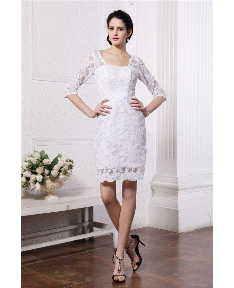 Modest lace short wedding dresses with sleeves sheath square