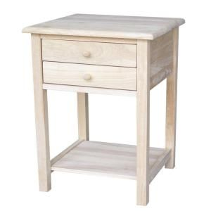 International Concepts Unfinished Lamp Table With 2 Drawer Ot 92 At The