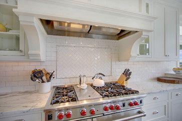 Herringbone Tile Over Stove Top With Pencil Outline And Then