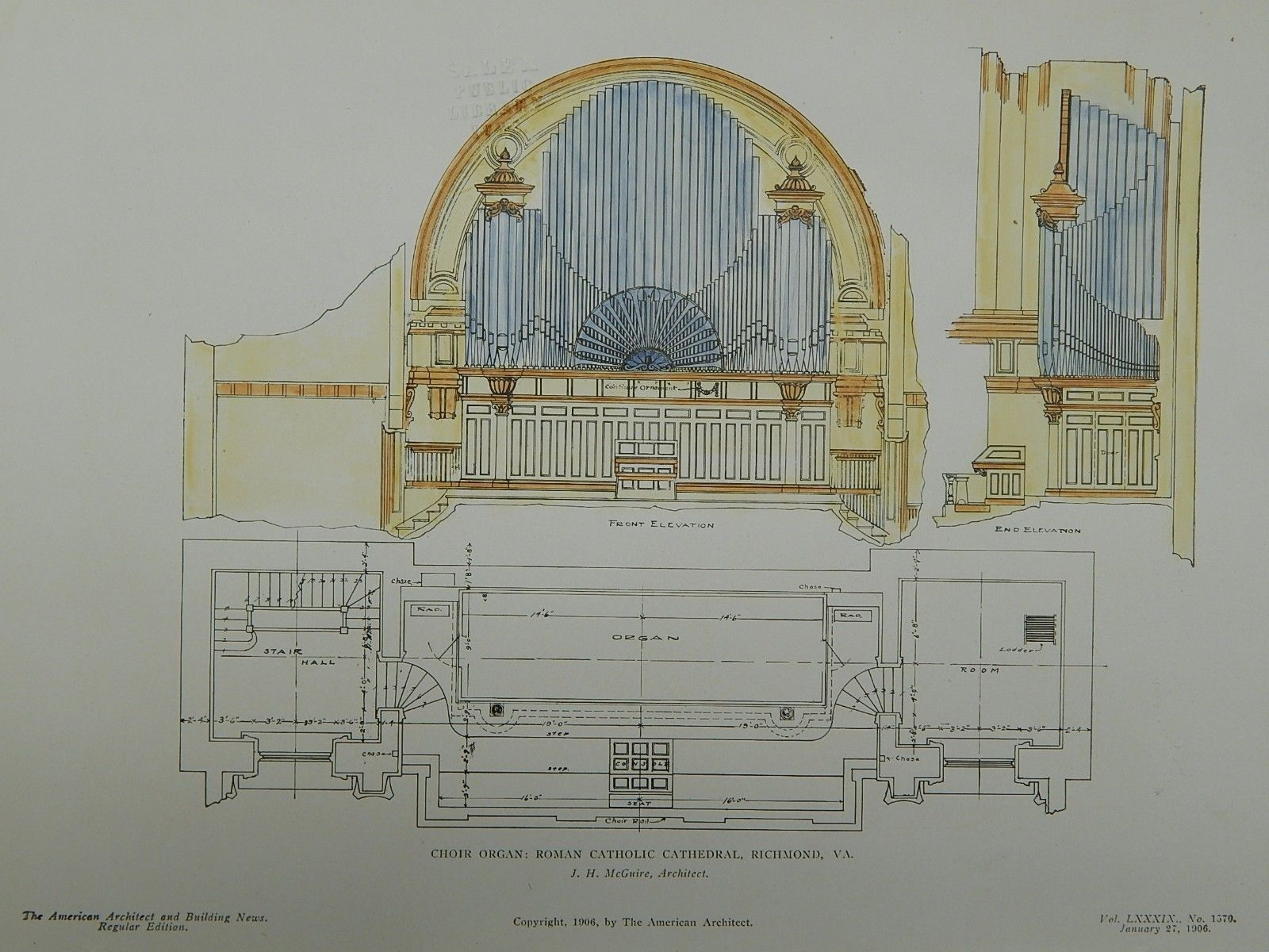 Choir Organ, Roman Catholic Church, Richmond, VA, 1906, Original Plan. J. H. McGuire.