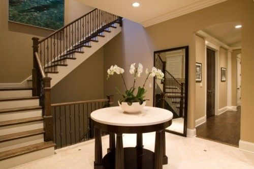 Light Brown Dark And Cream Paint Color Scheme For Foyer The Home Staircase Design Painted Staircases