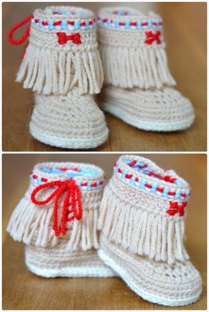 Crochet Baby Booties Fringe Moccasins Pattern-Crochet Ankle High ...