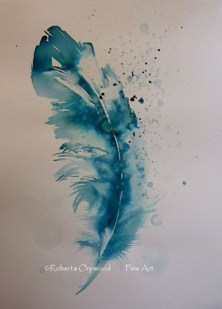 Feather Collection Original Ink Painting By By Robertaorpwood
