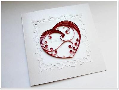 handmade Valentine quilling card  sweet and simple design