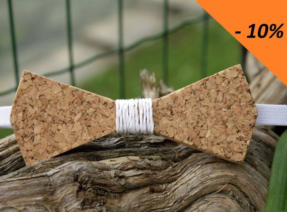 Cork with Central white raffia bow ties by BowterflyIdea on Etsy