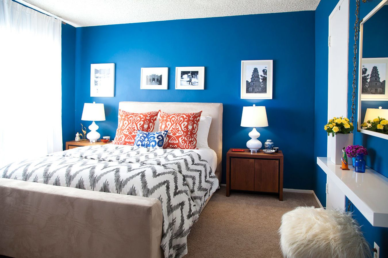 A Cool Calm And Cobalt Bedroom Homepolish Blue Bedroom Walls Bright Blue Bedrooms Bedroom Decor