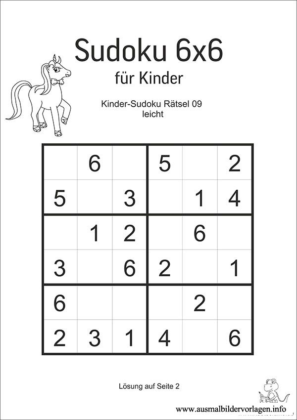 sudoku fur kinder 6x6 schulkinder pinterest