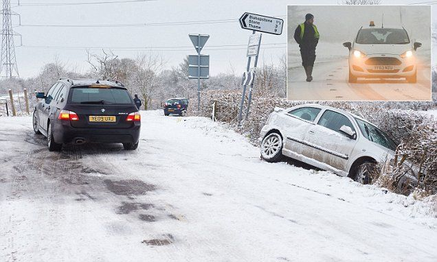 Where are the gritters? Sudden snowfall brings travel chaos with string of crashes on icy roads - and there's up to four inches more on the way as mercury plummets to -11C
