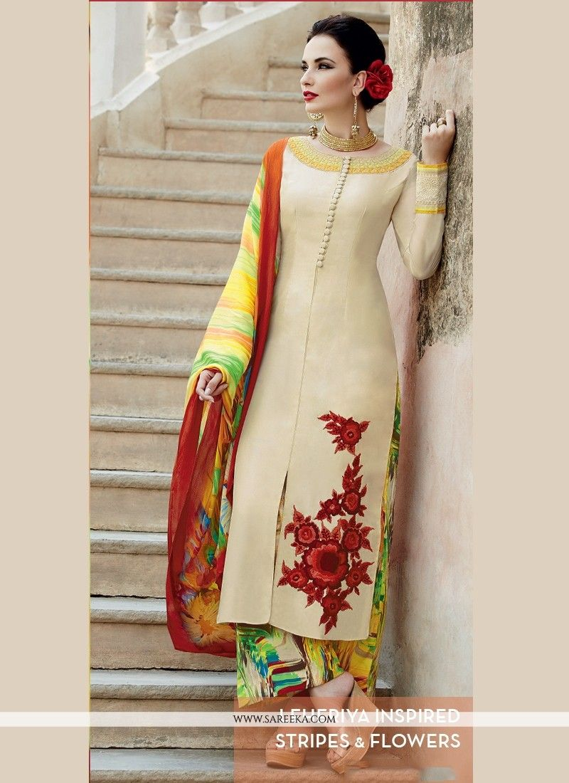 281aebcd52 Make the heads flip as soon as you dress up with this beige cotton satin  designer palazzo salwar suit. Look ravishing clad in this dress that's  enhanced ...