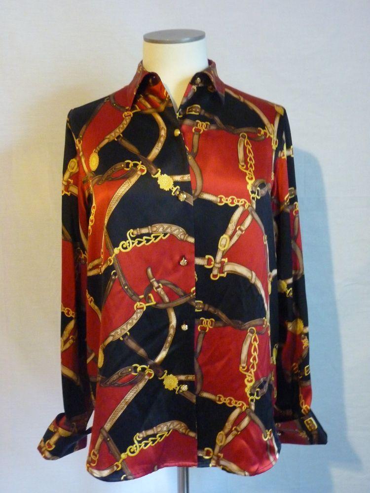 371f60559385f Ralph Lauren Equestrian Blouse Silk Gold Chain Bridle Bit Red Black Medium  M Top  RalphLauren  equestrian