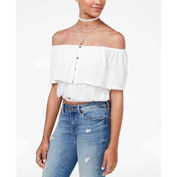 ab3c1396a225a American Rag Juniors  Cropped Off-The-Shoulder Top