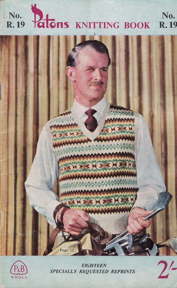 1950s Vintage Mens Knitting Patterns Book by allthepreciousthings ...