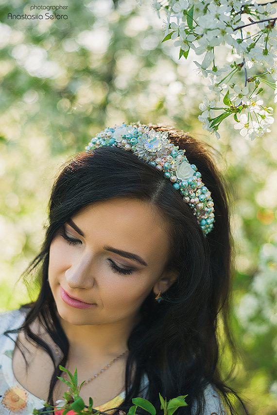 f218d04c Wedding jeweled headband for woman Beaded light blue pearl tiara Pink bridal  Headband Baroque crown