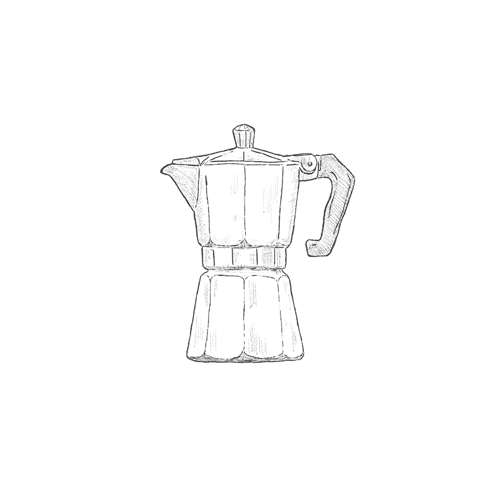 Photo of Coffee made with an Italian percolator, sketch board illustration.