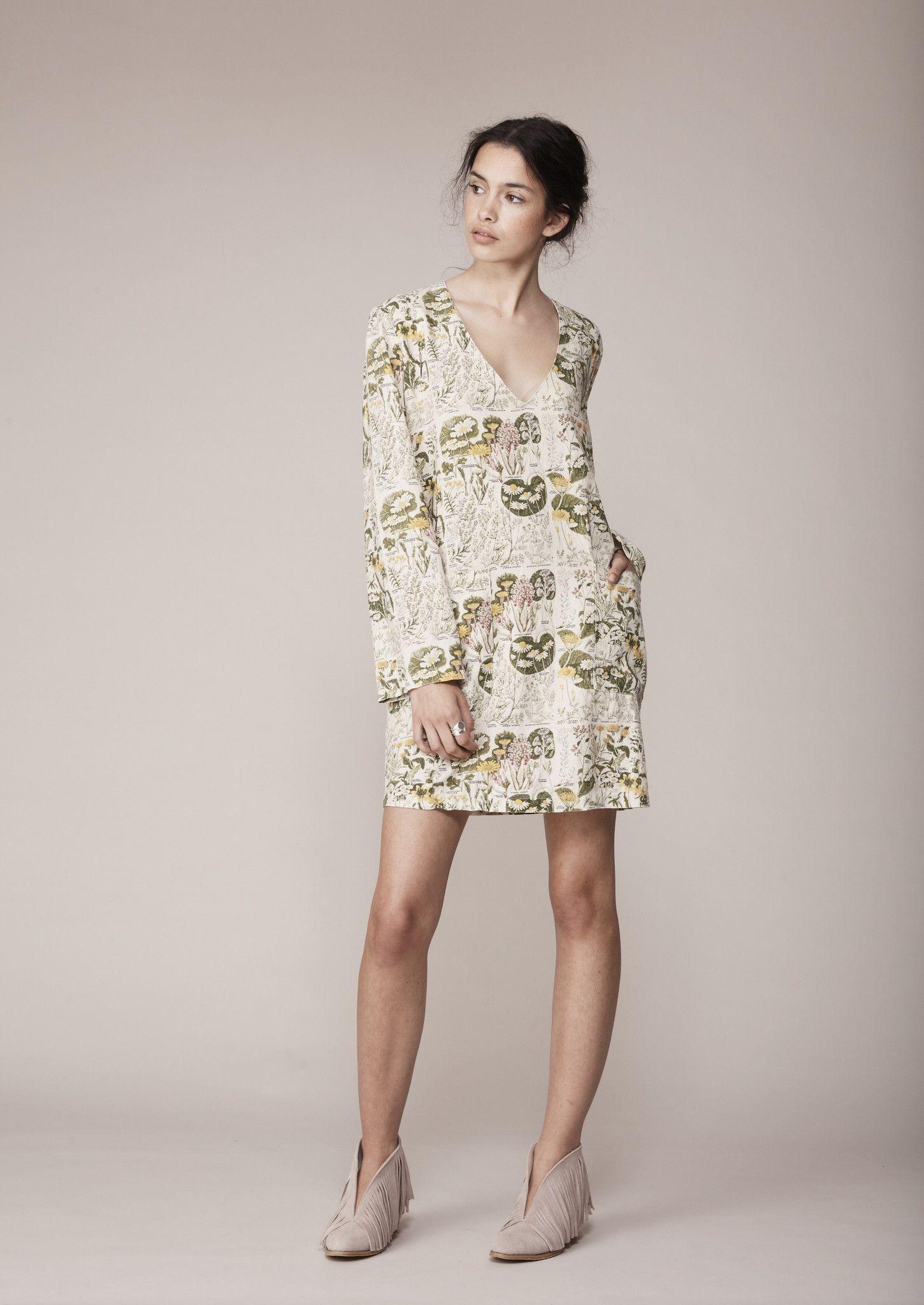 Binny - The Coorong Dress In Botanical Print