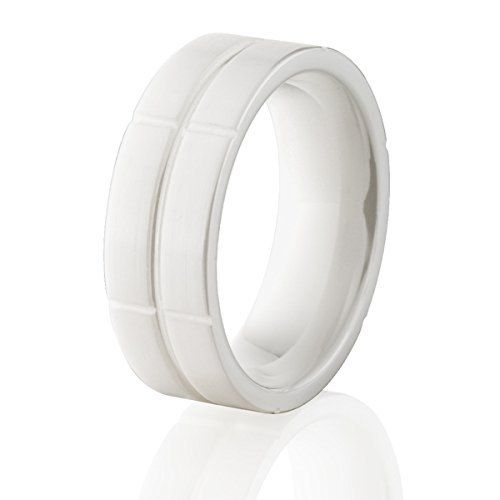 White Ceramic Rings Ceramic Wedding Bands In 2020 Camouflage Wedding Rings Titanium Wedding Rings Wedding Bands