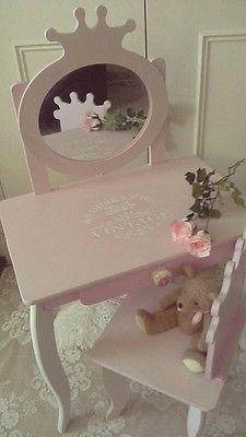 Little Girls Princess Dressing Table Mirror U0026 Chair Shabby Chic Annie Sloan