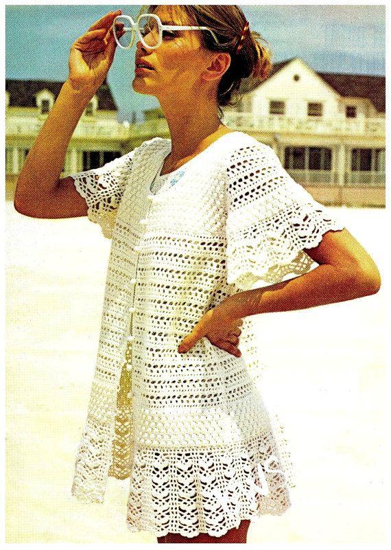 Crochet Dress Pattern - Vintage 70\'s Crochet Dress - PDF Pattern ...