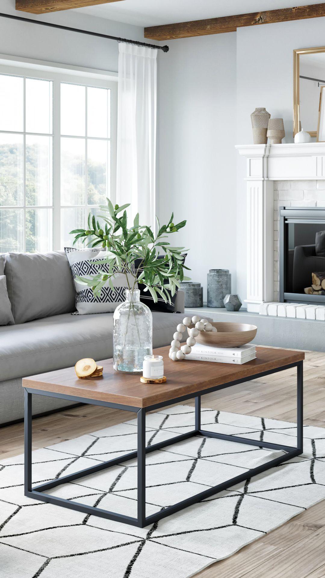 Doxa Modern Industrial Wood Coffee Table With Black Metal Box
