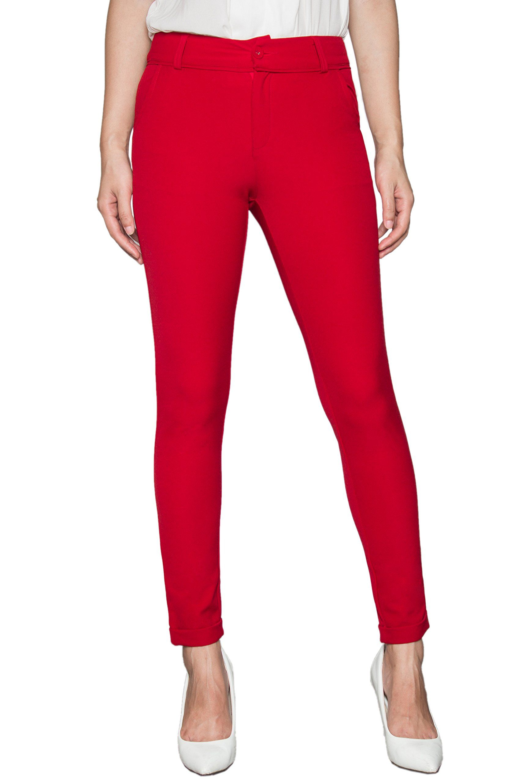Women's Stretch Dress Pants Slim Fit Ankle (M, Red). Recommended ...