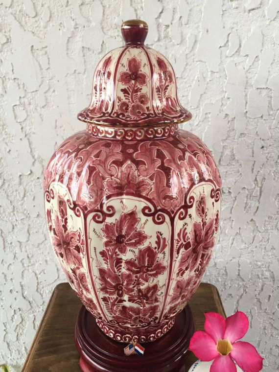 Rare Large Delft Red Orchid Ginger Jar By Guamantiquesnstuff