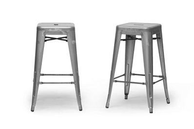 Baxton Studio French Industrial Modern Counter Stool in Gunmetal (Set of 2) | Affordable Modern Furniture in Chicago
