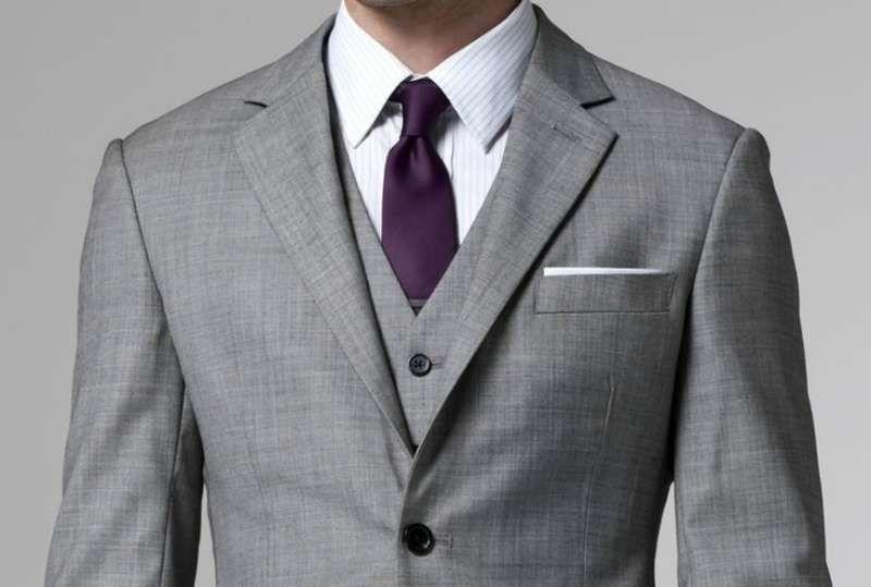 Grey Suit Purple Tie White Shirt Grey Waistcoat White Pocket