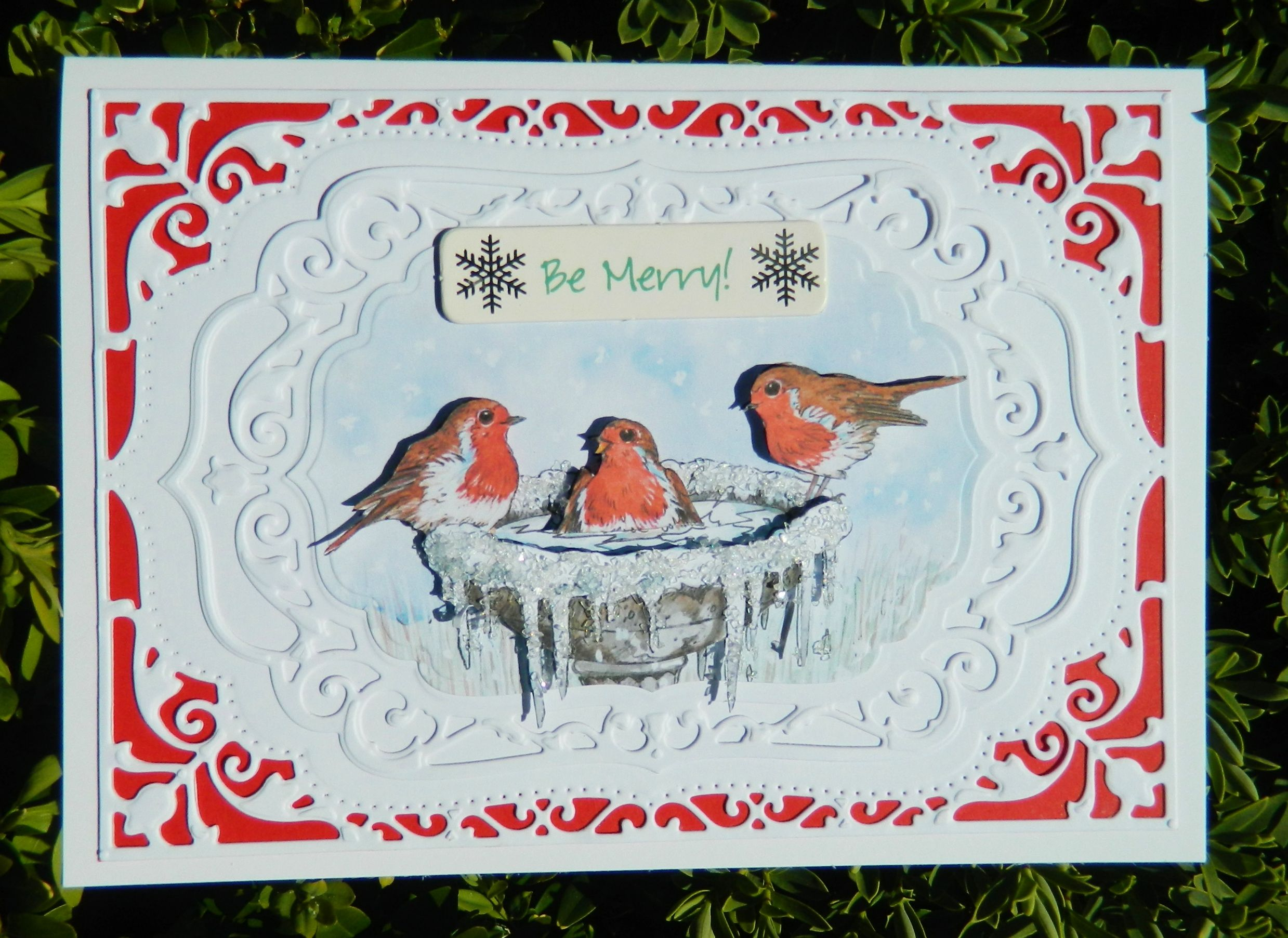 made by Jane Middleton using Spellbinders Nestabilities Card Creator: 5x7 Elegant Labels Four (S6-005) the robins are from a la pasha cd rom called the big one .