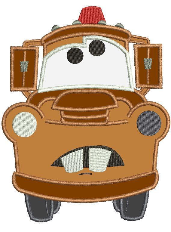 Mater Disney Cars Pixar Applique Machine Embroidery Design 3 sizes ...