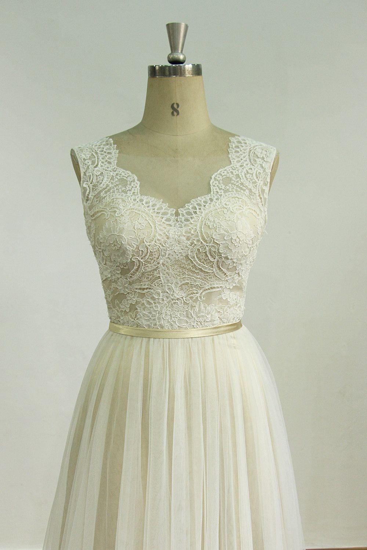 Romantische Elfenbein rückenfreie Tüll Hochzeit Spitzenkleid mit  Sekt-Futter Material  Tüll, Spitze Verzierung d424002b67