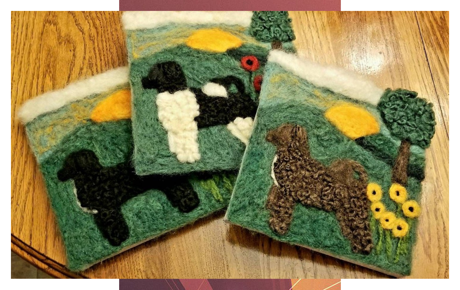 Portuguese Water Dog Wool Fiber Art Custom Picture with Sunset Landscape, Needle Felted Art #Portuguese #Water #Dog #Wool #Fiber #Art #Custom #Picture #with #Sunset #Landscape, #Needle #Felted #Art
