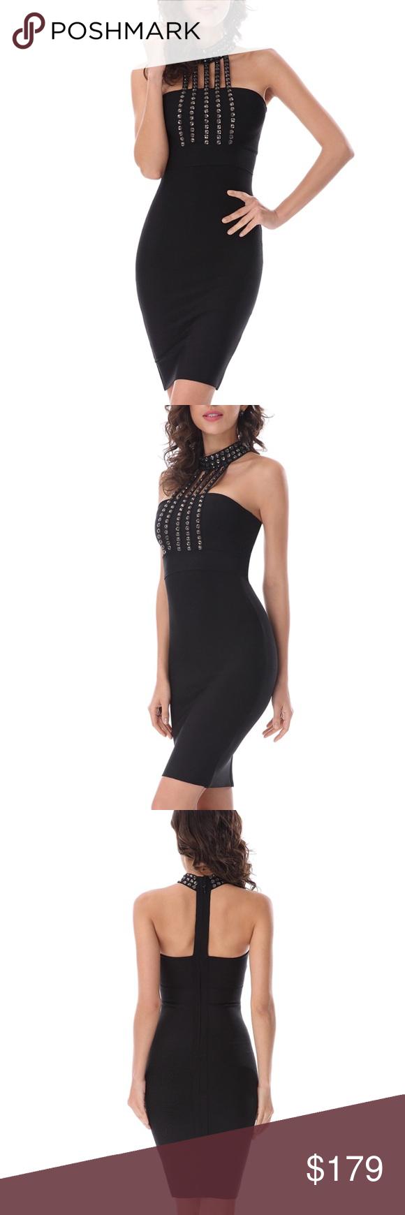 Black udiamondu bandage evening party dress available size xs