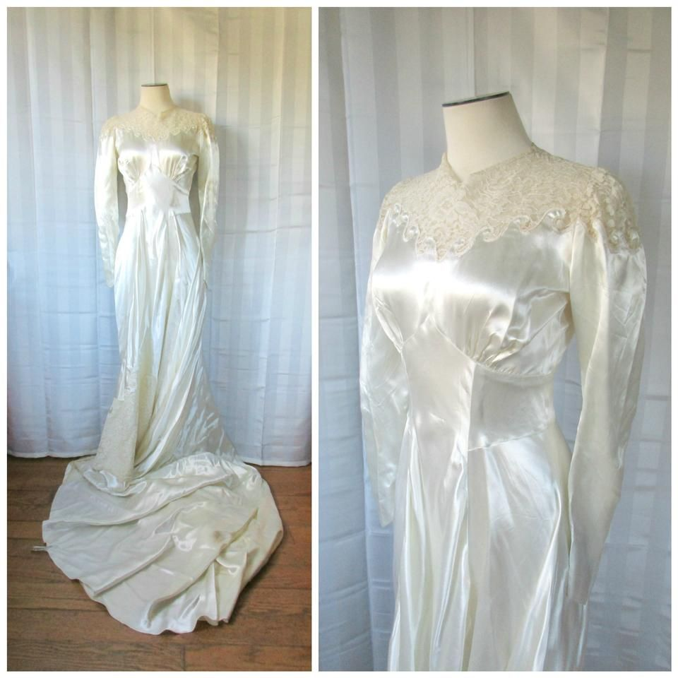 Antique cream wedding dress  Ivory Silk Satin s Vintage Wedding Dress  Vintage Wedding