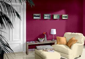 Wohnzimmer farbgestaltung ~ Farbgestaltung für ein wohnzimmer in den wandfarben orchidee
