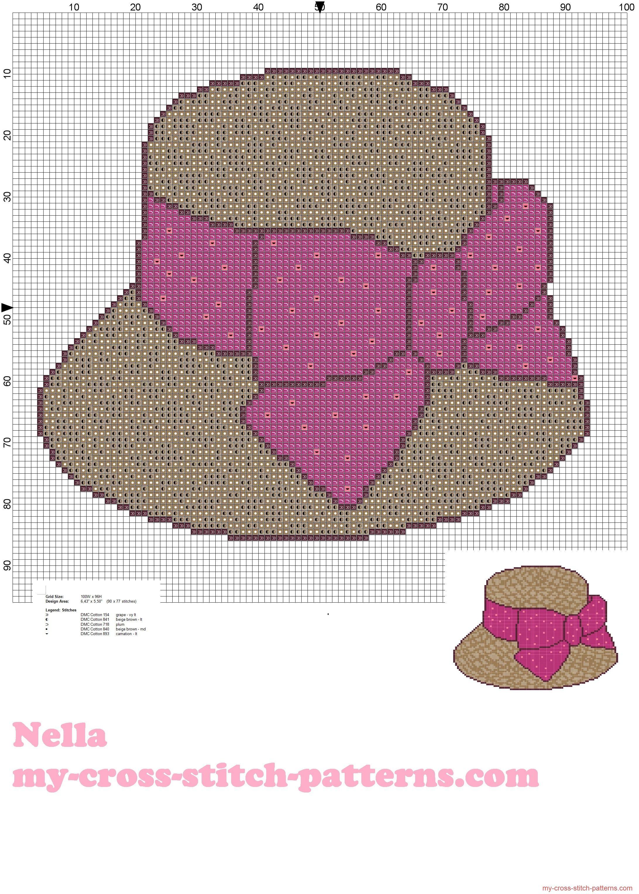 Patron punto de cruz sombrero de paja con lazo | şapka | Pinterest ...