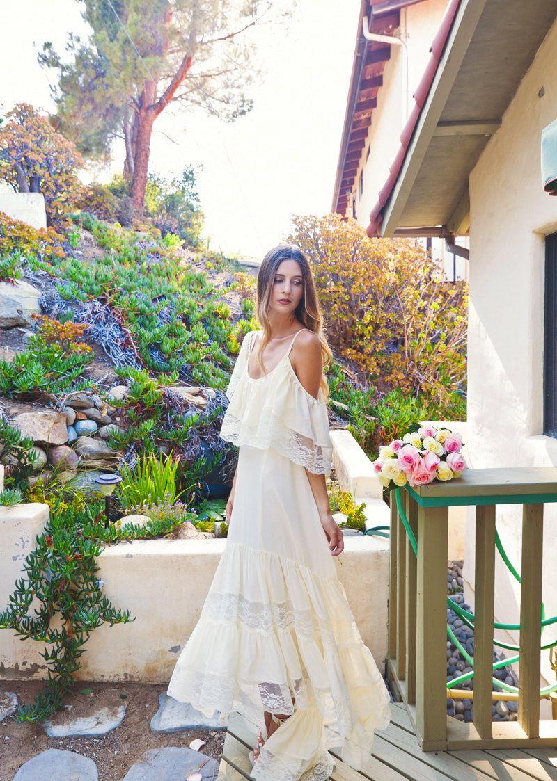 High low silk chiffon bohemian wedding dress dreamy boho beach