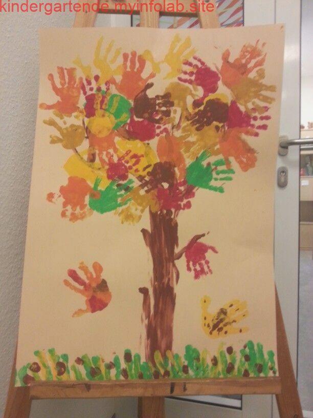Kita Herbst Blätter Handabdruck Baum #fallcraftsforkidspreschool
