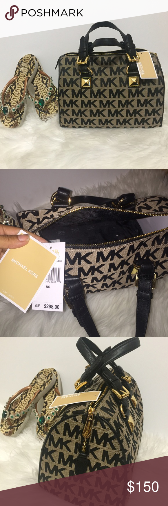 """MK Michael Kors Greyson black speedy stud bag 🚫NO TRADES - ignoring comments asking for that - Brand :Michael Kors Style :Satchel Material :Jacquard Color :Black Bag Height :8.5"""" Bag Depth :7"""" Bag Length :11.5"""" Strap Drop :6"""" Size :Medium UPC :888235790862 💯 authentic - unfortunately doesn't include dust bag - my sister kept it - original retail price is 298 - purchased two at a good sale -poshmark offers authenticity check if interested you can contact them :) Michael Kors Bags"""