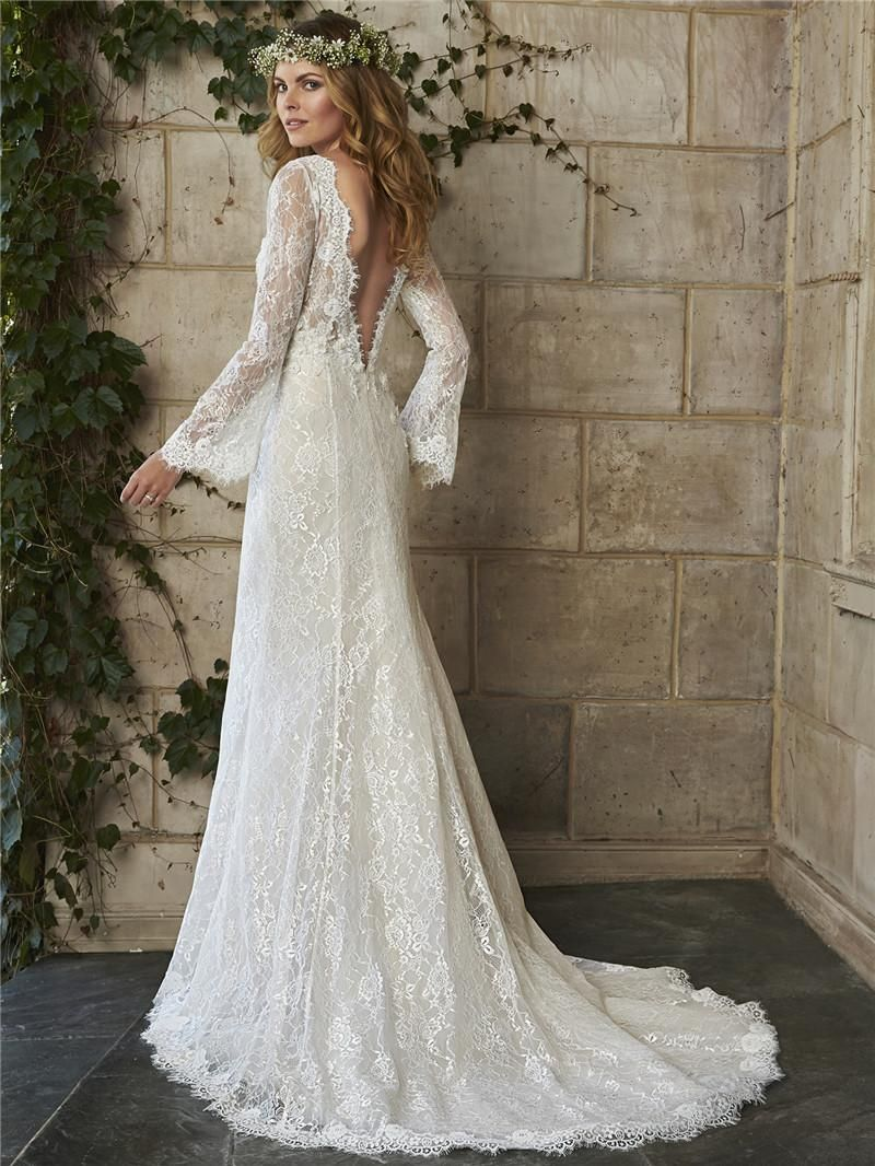 Bohemian wedding dresses cheap long sleeves backless lace