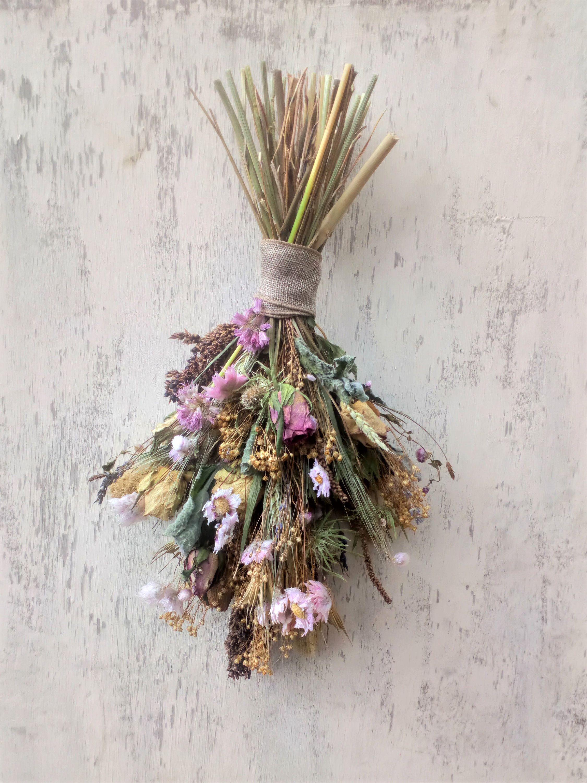 Dried Flower Swag Floral Wall Hanging Rustic Home Decor Flower Arrangement Wedding Decor Floral Wall Dried Flowers Flower Arrangements