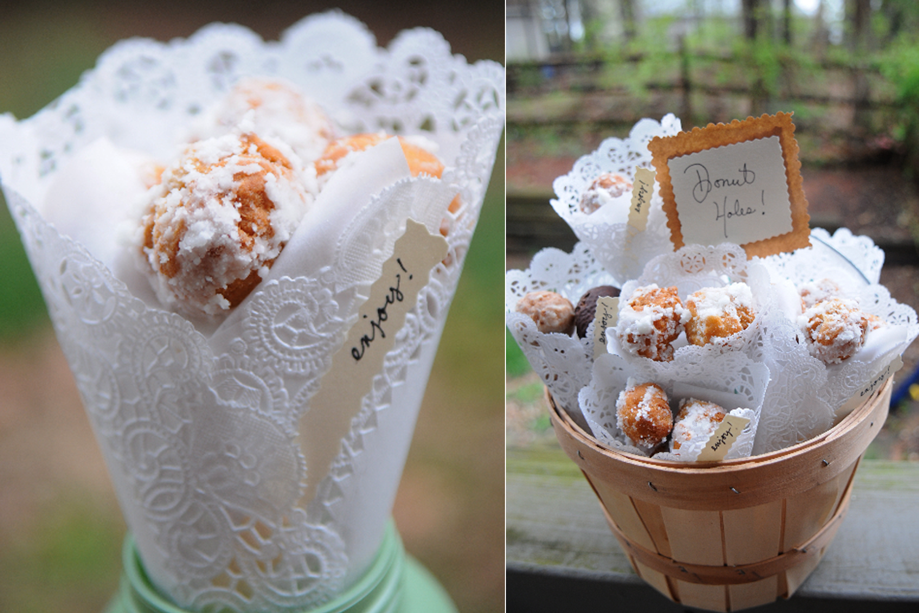 Love this!!! Vintage wedding favors- donuts in lace! Yum ...