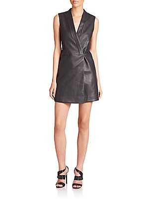 BCBGMAXAZRIA Caryn Faux-Leather Vest Dress