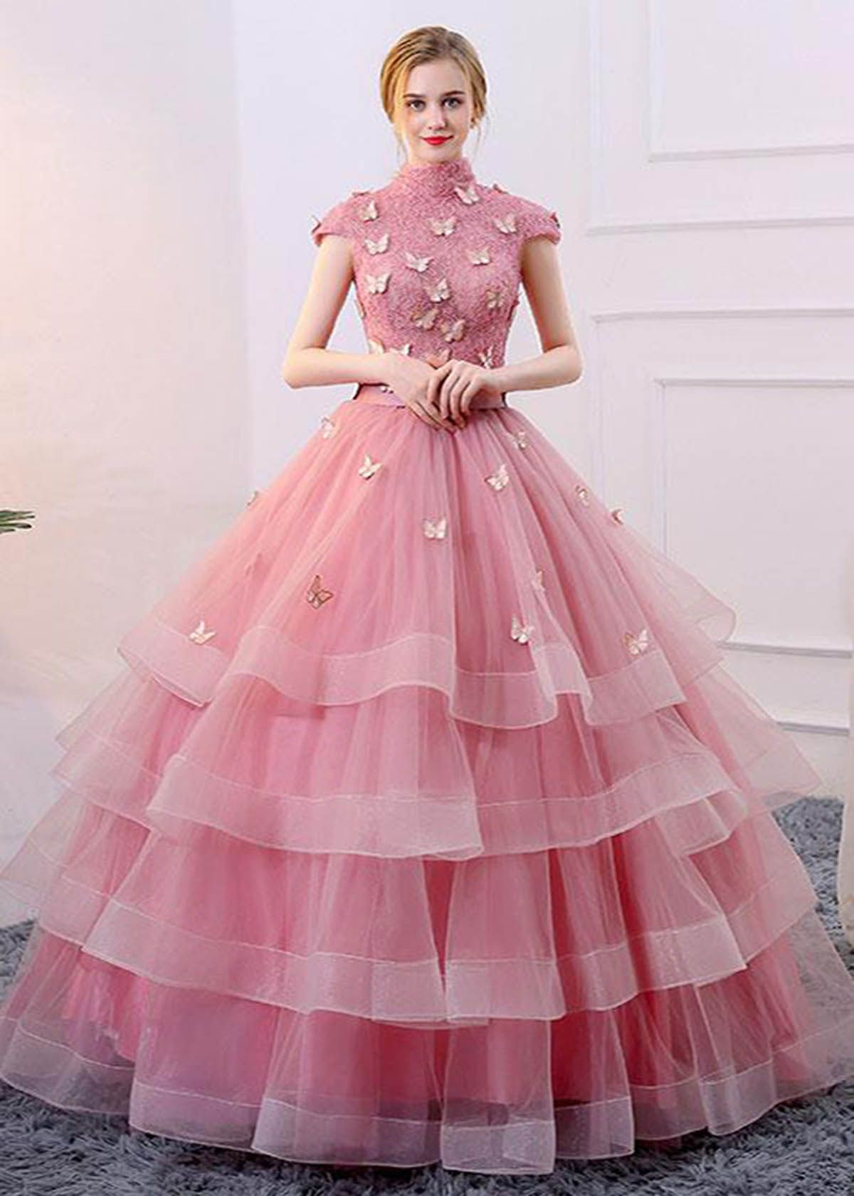 Spring pink tulle aline long winter formal prom dress long cap