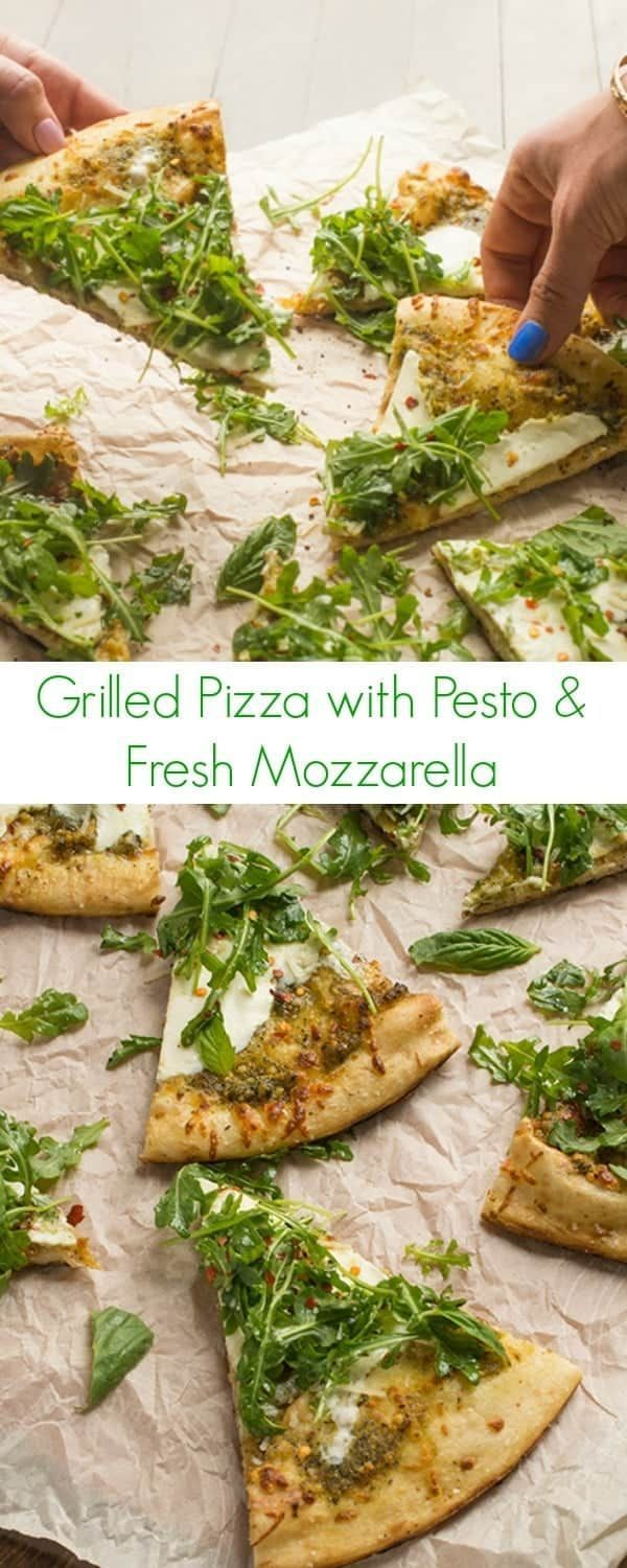 Pizza with Presto and Fresh Mozzarella Recipe - A quick and easy dinner that anyone could make! - The Lemon Bowl